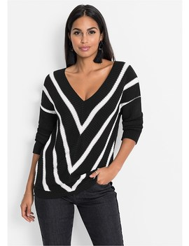 V Neck Striped Sweater by Venus