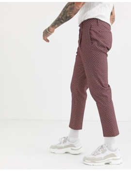 Asos Design Tapered Crop Smart Pants In Cotton Ditsy Floral Print In Burgundy by Asos Design