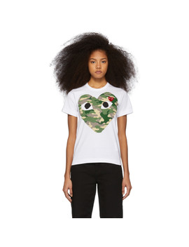 White & Red Camo Heart T Shirt by Comme Des GarÇons Play