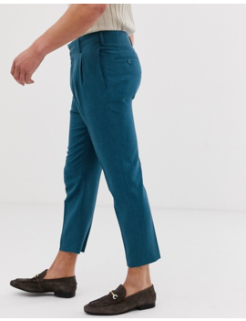 Asos Design Tapered Crop Smart Pants In Teal Cross Hatch by Asos Design
