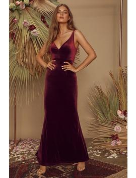 Maliya Plum Purple Velvet Mermaid Maxi Dress by Lulus