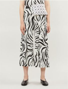 Aroma High Rise Graphic Print Pleated Wide Leg Trousers by Pleats Please Issey Miyake