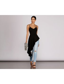 Pretty In Peplum High Low Top by Windsor