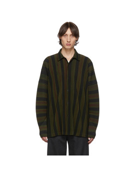 Brown & Black Stripe Long Sleeve Shirt by Homme PlissÉ Issey Miyake