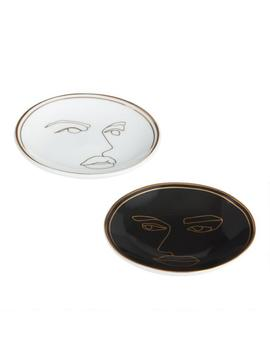 Art Deco Faces Porcelain Tea Rests Set Of 2 by World Market