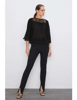 Pleated Contrasting Blouse  Shirts by Zara
