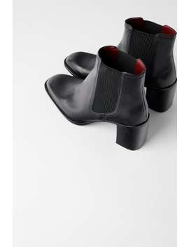 Leather Heeled Ankle Boots With Goring View All Shoes Woman by Zara