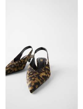 Slingback Kitten Heel Shoes In Animal Print View All Shoes Woman by Zara