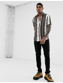 Asos Design Relaxed Shirt In White Black And Gold Stripe by Asos Design
