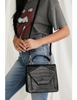 Mars Black Crocodile Embossed Handbag by Lulu's
