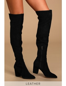 Poet Black Suede Leather Pointed Toe Over The Knee Boots by Splendid