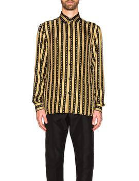 Logo Stripe Shirt by Versace