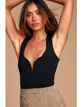 Out All Night Black Sleeveless Bodysuit by Lulus