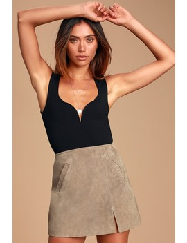 Venice Beach Taupe Suede Leather Mini Skirt by Blank Nyc