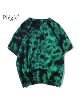 Plegie Tie Dye Shirt Unisex Hip Hop T Shirt 2019 Summer Round Neck Men's Tshirts 100% Cotton Tee Shirts 5 Colors by Ali Express