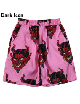 Dark Icon Printed Elastic Waist Beach Shorts Men 2019 Summer Men's Shorts Pink Purple by Ali Express