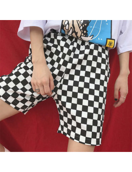 Harajuku Hiphop Checkered Summer Shorts Men Casual Hot Retro Vintage Street Loose Black White Shorts Fashion Men Ins Shorts by Ali Express