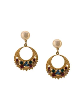 Rhinestone Embellished Earrings by Oscar De La Renta