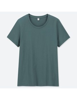 Women 100% Supima Cotton Crew Neck Short Sleeved T Shirt by Uniqlo