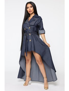 Walk Down Times Square Denim Dress   Dark Wash by Fashion Nova