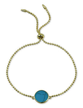 Reconstituted Turquoise Bolo Bracelet In 18k Gold Plated Sterling Silver by General