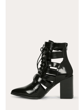 Pointy Toe Cutout Buckled Chunky Booties by Urbanog