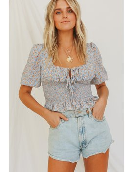 Young At Heart Shirred Top // Lake by Vergegirl