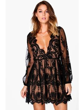 Boutique Lace Plunge Skater Dress by Boohoo
