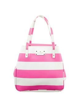 Shopping Tote Stripes Pink Canvas Satchel by Kate Spade