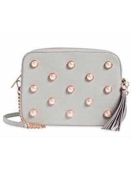 Camera Alessia Faux Pearl Embellished Grey Leather Cross Body Bag by Ted Baker