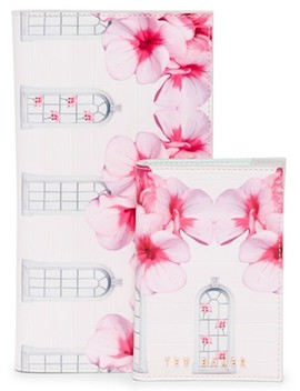 Pink Floral Leather Travel Wallet by Ted Baker
