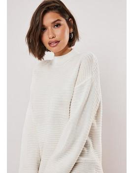 Tall White High Neck Ribbed Knitted Dress by Missguided