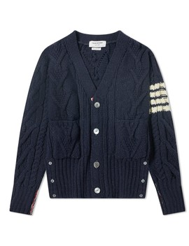 Thom Browne Aran Cable 4 Bar Donegal Cardigan by Thom Browne