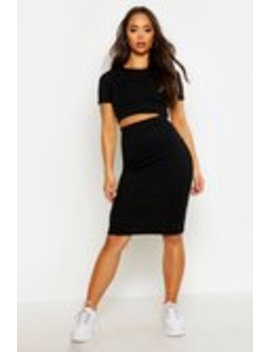 Rib T Shirt And Midi Skirt Co Ord Rib T Shirt And Midi Skirt Co Ord by Boohoo