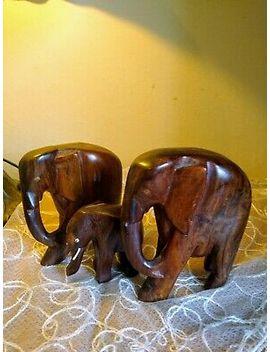 <Span><Span>Vintage Carved Wood Elephant Family 3x Elephants</Span></Span> by Ebay Seller