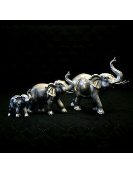 <Span><Span>3pc Silver African Elephant Family Ornaments Safari Animals Statues Home Decor </Span></Span> by Ebay Seller