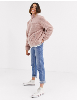 New Look Borg Fleece Jacket In Pink by New Look