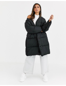 Asos Design Collarless Padded Coat In Black by Asos Design