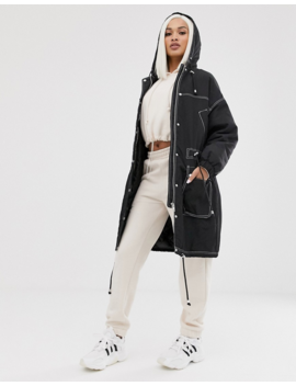 Asos Design Contrast Stitch Raincoat In Black by Asos Design