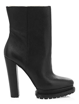 Holden Platform Shearling Lined Leather Boots by Alice + Olivia