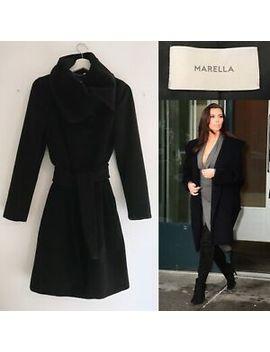 Max Mara Coat Black Virgin Wool Cashmere Wrap Coat   S Uk 8  Marella By Maxmara by Ebay Seller