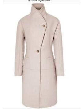 Reiss Myla Beige Camel Oatmeal Wool Funnel Neck Coat Size Xs Beautiful Cond by Ebay Seller
