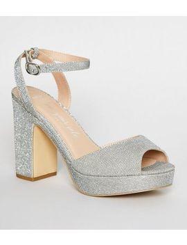 Wide Fit Silver Glitter Platform Block Heels by New Look