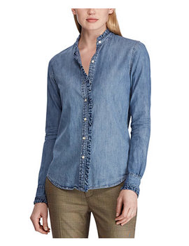 Petite Ruffle Trim Cotton Denim Shirt by General