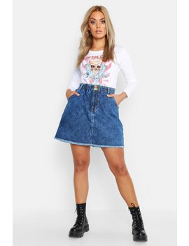 Plus Acid Wash Paper Bag Mini Skirt by Boohoo