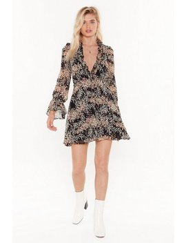 Pretty Floral Frill Detail Mini Tea Dress by Nasty Gal