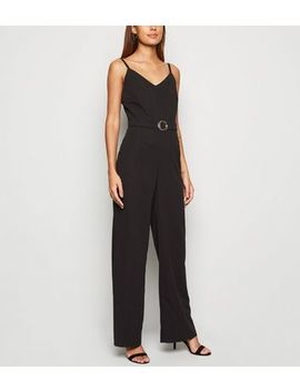 Mela Black Ring Buckle Belted Jumpsuit by New Look