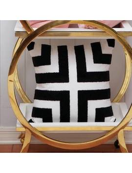 Wimberley Black/White Looped Terry Cotton Throw Pillow by Mercer41