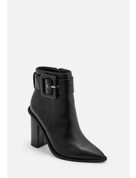 Black Buckle Block Heel Pointed Ankle Boots by Missguided