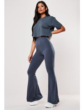 Blue Jersey Flare Trousers by Missguided